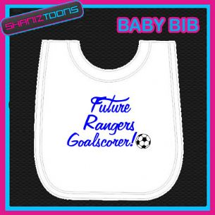 RANGERS FOOTBALL WHITE BABY BIB EMBROIDERED